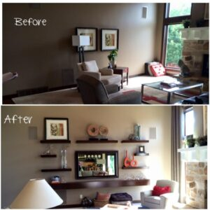 Adding floating shelves in an entertainment area